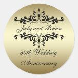 Pegatinas del aniversario de boda del negro del pegatinas redondas