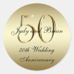 Pegatinas del aniversario de boda del negro del or pegatina redonda