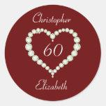 Pegatinas del aniversario del diamante del corazón