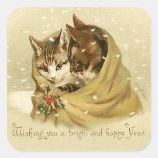 Pegatinas del Año Nuevo de los gatos del vintage Pegatina Cuadrada