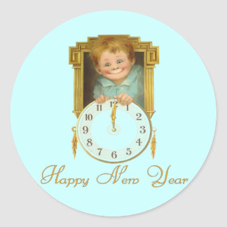 Pegatinas del Año Nuevo del vintage Pegatina Redonda