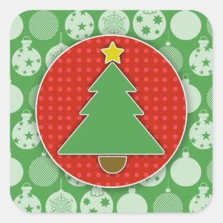 Pegatinas del árbol de navidad (cuadrado) pegatina cuadrada