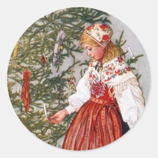 Pegatinas del árbol de navidad de Carl Larsson Pegatina Redonda