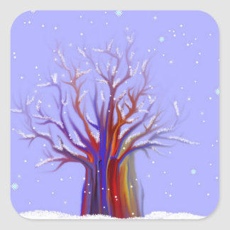 Pegatinas del árbol del invierno pegatina cuadrada