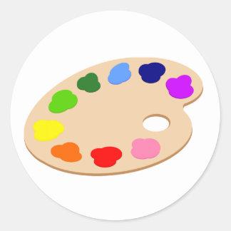 Pegatinas del arte de la paleta de la pintura del pegatina redonda