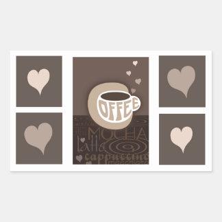 Pegatinas del arte del amor del café pegatina rectangular