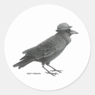 Pegatinas del arte del cuervo etiqueta redonda