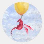 Pegatinas del arte del dragón de la fantasía - etiqueta redonda