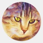 Pegatinas del arte del gato de Tabby Pegatina Redonda
