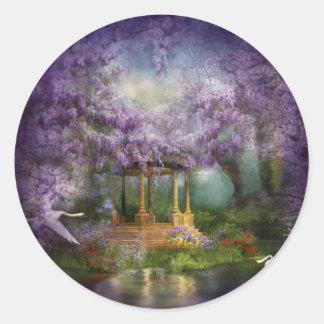 Pegatinas del arte del lago wisteria pegatina redonda