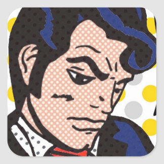 Pegatinas del arte pop del hombre del colcomania cuadrada