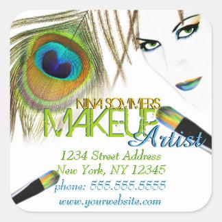 Pegatinas del artista de maquillaje pegatinas cuadradas personalizadas
