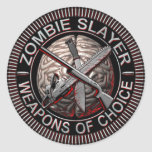 Pegatinas del asesino del zombi etiqueta redonda