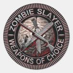 Pegatinas del asesino del zombi pegatina redonda