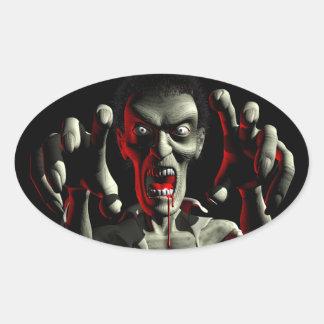 Pegatinas del ataque del zombi pegatina ovalada