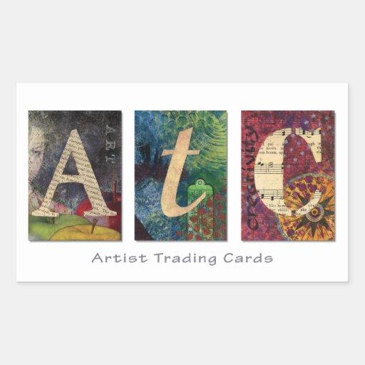 Pegatinas del ATC - tarjetas de comercio del Rectangular Pegatina
