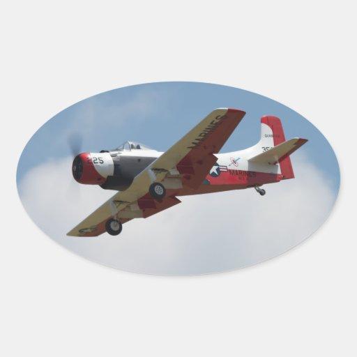 Pegatinas del aterrizaje de A1 Skyraider Calcomania Óval Personalizadas