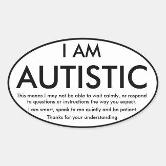 Pegatinas del autismo pegatina ovalada