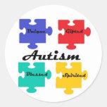 Pegatinas del autismo pegatina redonda
