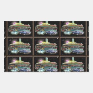 Pegatinas del autocinema del melio de los años 50 pegatina rectangular