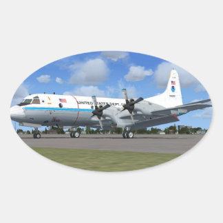 Pegatinas del avión del tiempo de P3 Orión NOAA Pegatina Ovalada