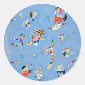 Pegatinas del azul de cielo de Kandinsky Pegatina Redonda