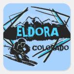 Pegatinas del azul de la montaña del esquí de pegatina cuadrada