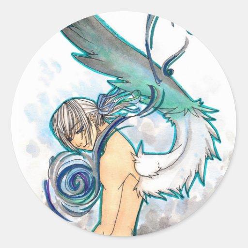 Pegatinas del azul del alma pegatinas redondas