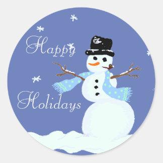 Pegatinas del azul del muñeco de nieve del navidad pegatina redonda