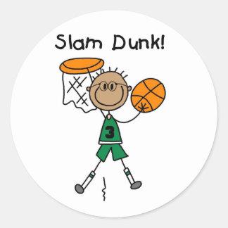 Pegatinas del baloncesto de la clavada pegatina redonda