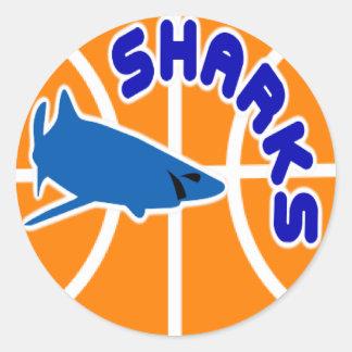 Pegatinas del baloncesto de los tiburones pegatina redonda