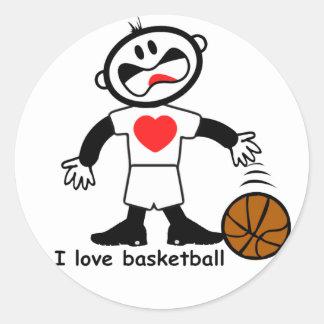 Pegatinas del baloncesto del amor de los niños I Pegatina Redonda