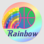 Pegatinas del baloncesto del arco iris pegatina redonda
