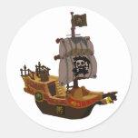 Pegatinas del barco pirata etiquetas redondas