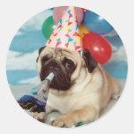 Pegatinas del barro amasado del cumpleaños etiquetas redondas