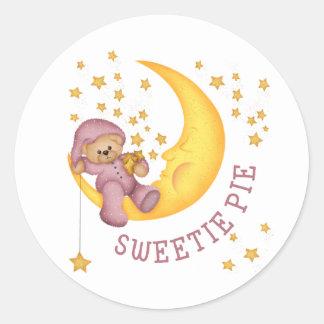 Pegatinas del bebé de la empanada del Sweetie Pegatina Redonda