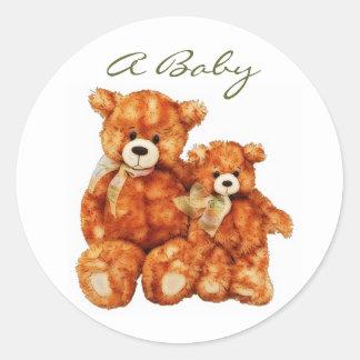 Pegatinas del bebé de peluche del oso de un sello pegatina redonda