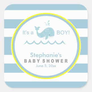 Pegatinas del bebé del muchacho de la ballena azul pegatina cuadrada