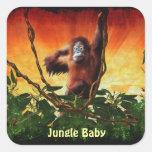 Pegatinas del bebé del orangután y del primate del pegatinas cuadradas personalizadas