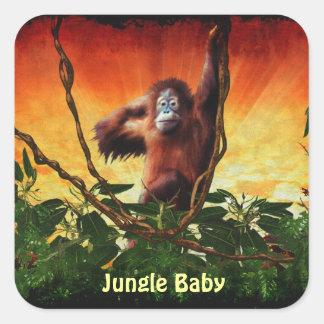Pegatinas del bebé del orangután y del primate del pegatina cuadrada