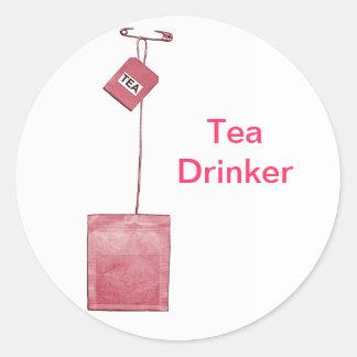 Pegatinas del bebedor del té pegatina redonda