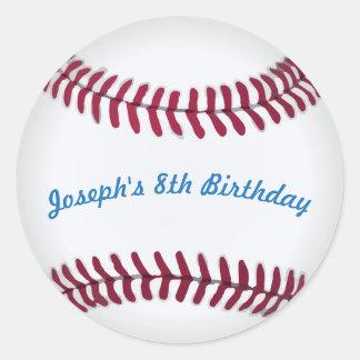Pegatinas del béisbol con palabras de encargo pegatina redonda
