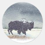 Pegatinas del bisonte de Snowdusted Pegatina Redonda