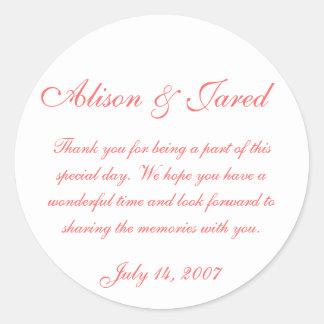 pegatinas del boda etiquetas redondas
