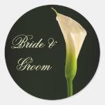Pegatinas del boda de la cala etiquetas redondas