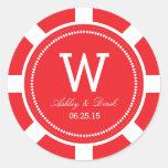Pegatinas del boda de la ficha de póker - rojo pegatinas redondas