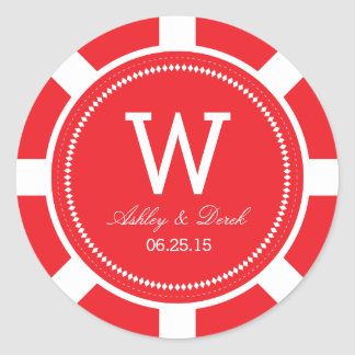 Pegatinas del boda de la ficha de póker - rojo pegatina redonda