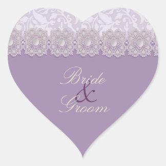Pegatinas del boda de la lavanda del cordón y de pegatina en forma de corazón