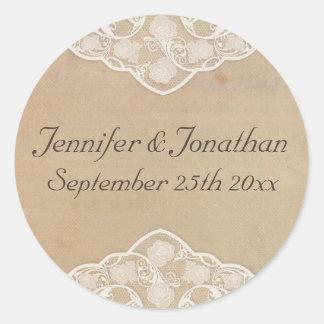 Pegatinas del boda de la mirada de la lona y del etiqueta redonda