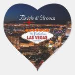 Pegatinas del boda de la tira de Las Vegas Pegatinas Corazon Personalizadas
